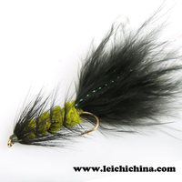 Hand made streamer fly woolly bugger flies fly fishing lure