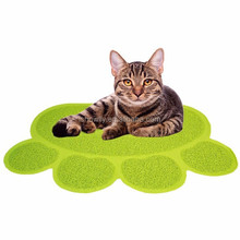 SGS tested and certified safe Non-toxic PVC Paw shape cat litter mat