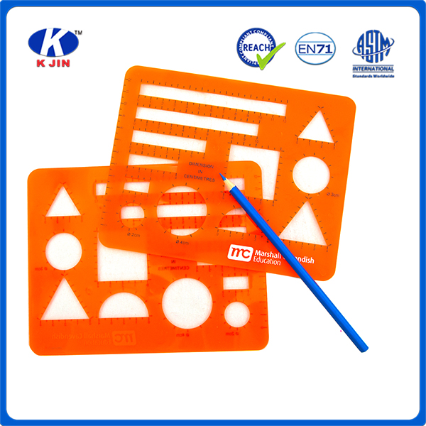 2016 oem orange plastic drawing stencil for students and offices