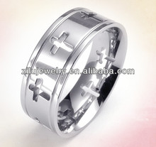 (ELBR0398) Stainless Steel cutout cross designs around cross shape rings