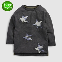 Wholesale Boys Clothing 2019 NEW Gray Star Print Toddler Boy Shirts Embroidery