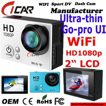 "New model ! HD WiFi Waterproof Action Camera1080p Ultra-thin design 2.0""LCD Go - pro size"