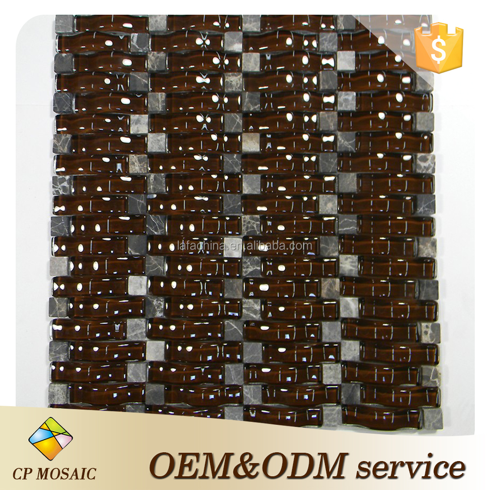 Alibaba Hot Sale Wavy 3D Glass Mix Stone Mosaic Tiles For Kitchen Backsplash Tile Wall Decoration