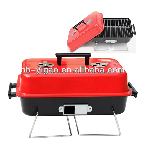 Easy to carry portable squar hamburger BBQ Charcoal Grill ZD-617 for 3-4 people
