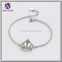 925 sterling silver engraved 3A CZ crown bracelet for girls gift