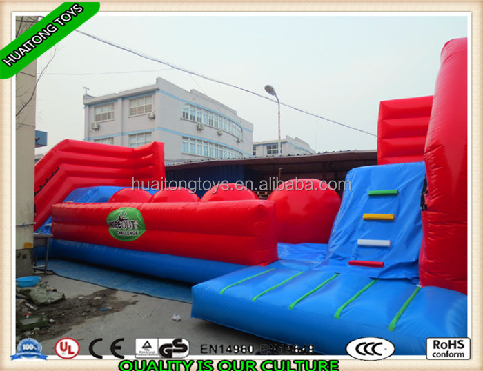Hot sale best popular inflatable Big Ball Obstacle wipeout games for kids and adults