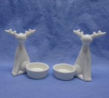 wholesale modern round 3 sets Ceramic sitting deer laptop Home Decor with a candler holder