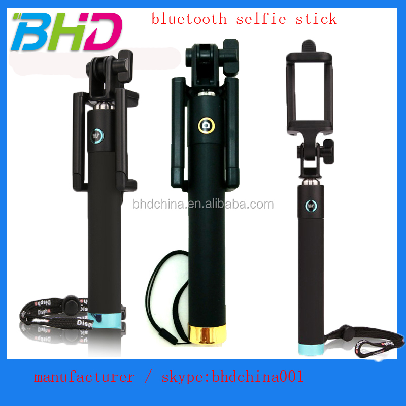 Shenzhen Aluminum Shortest foldable Selfie stick bluetooth with one remote button with beautiful gift box OEM