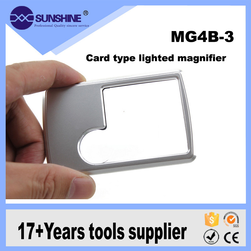 Pocked Battery Operated Credit Card Size Tweezers Magnifier With Led Light