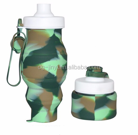 Camouflage color foldable sports water bottle silicone water bottle