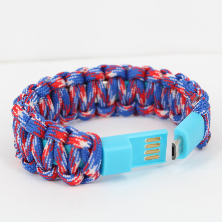 newest style mix color paracord braid silicone usb slap bracelet