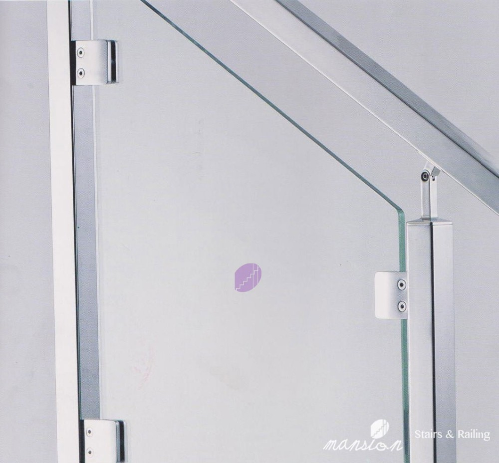 Square Stainless Steel Pipe Railing in Glass
