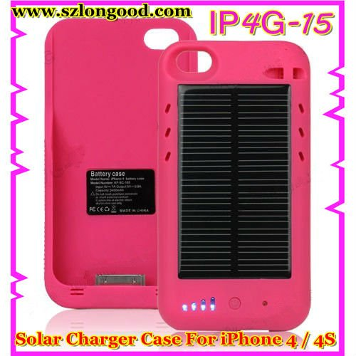 2400mAh External Solar Powered Battery Charger Case for iPhone 4 / 4S