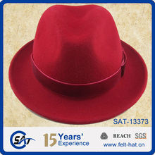 100% pure wool red fedora hat, square knot ribbon, unisex fedora hat