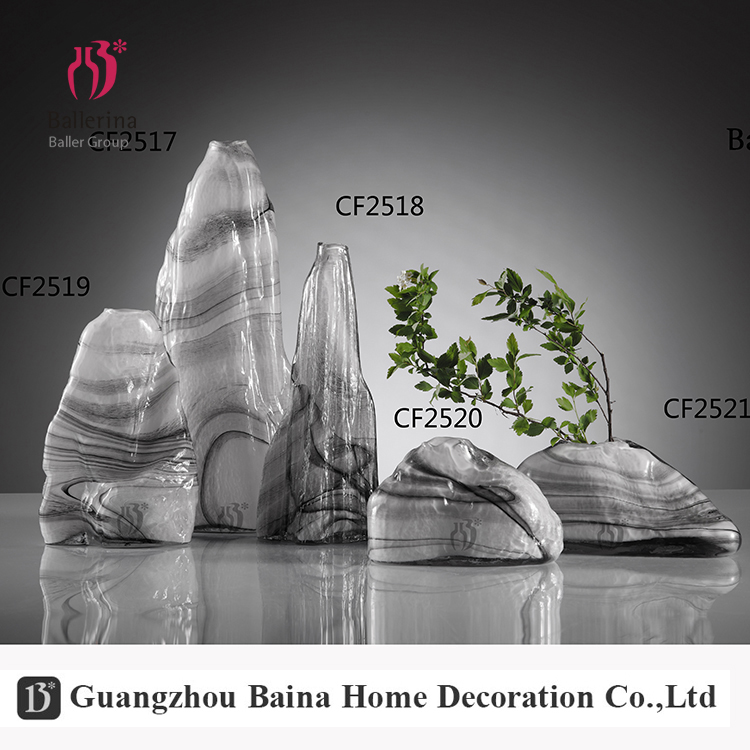 BALLERINA classic style marble pattern flower vase glass for hotel decor