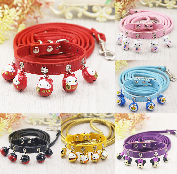 Custom Cartoon accessories bell dog collar and leash pet leather dog leash products