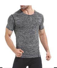 Custom slim fit Gym wear short sleeves T shirt men seamless gym T shirt