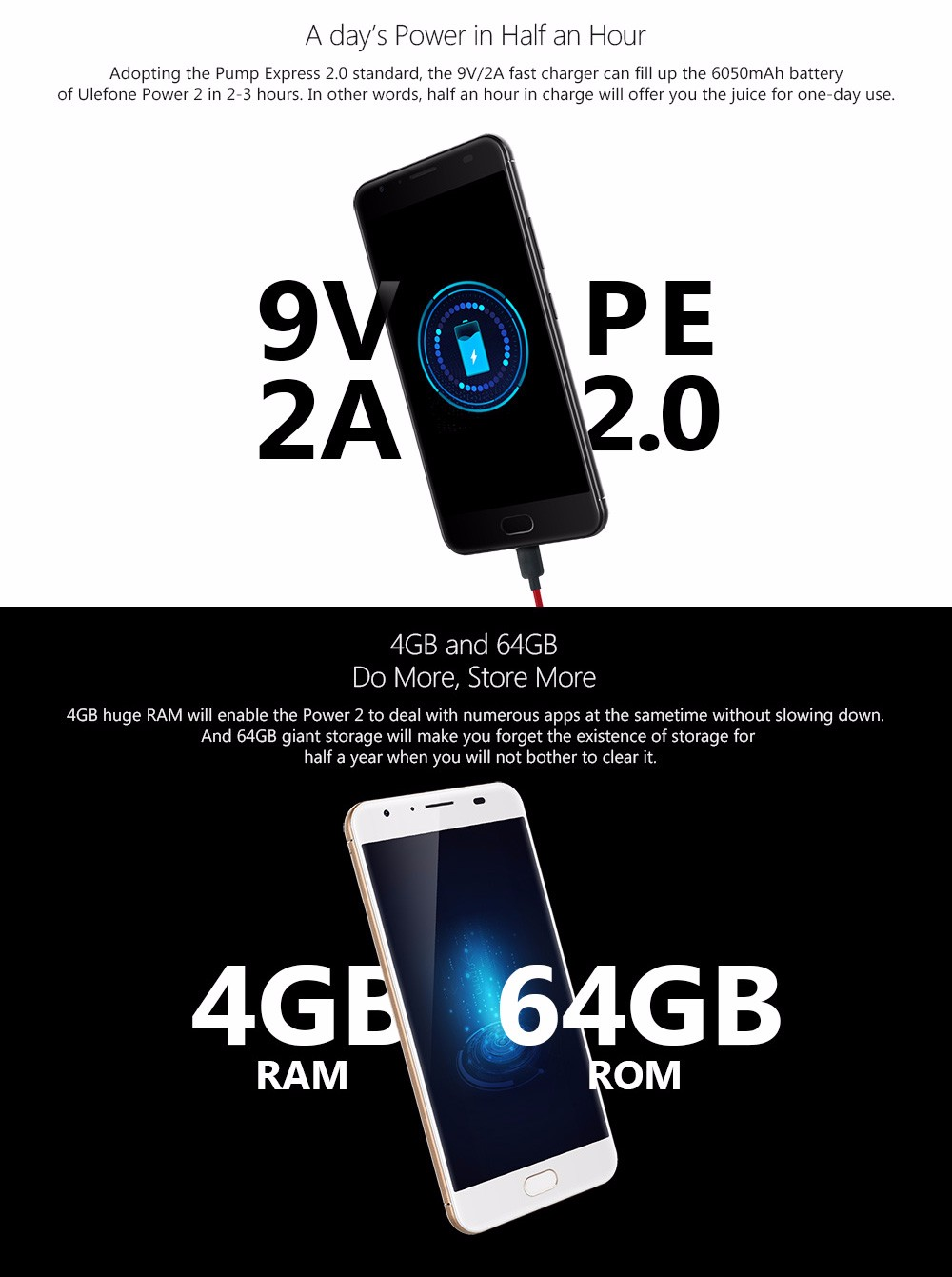 Original Ulefone Power 2 Mobile Phone 5.5 Inch FHD MTK6750T Octa Core Android 7.0 4GB+64GB 16MP 6050mAh Touch ID 4G Smartphone