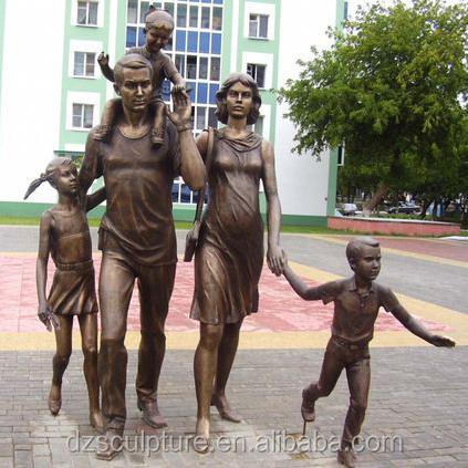 Bronze figure family sculptures father mother and children statues