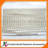 White Pearl Chain single roll pearl decorated trimming close cup chain sell cheap