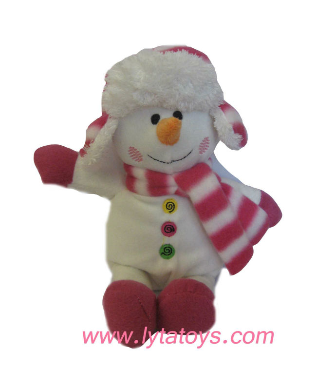 Plush Christmas Snowman with Red and White Scarf and Hat