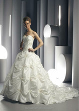 ivory taffetas ball gown beaded sweetheart lace fit and flare wedding dress