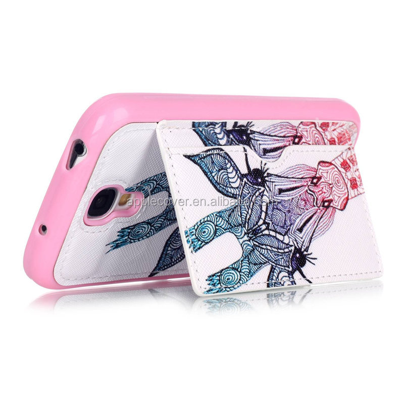 Hot Selling TPU +PU Leather Phone Cases for Samsung Galaxy S4 with Kick Stand , for SamsungS4 i9500 Back Cover