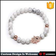 2017 Special Design Natural White Howlite Stone Essential Stretch Bead Bracelet With Copper Palm And Beads