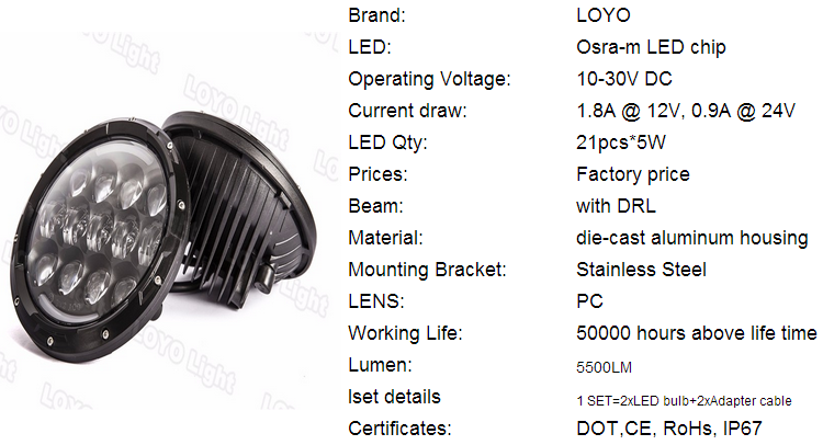 "LOYO factory 7"" round led headlight auxiliary light for jeep cherokee xj led headlight"