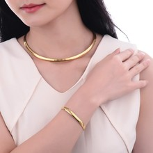 2016 women jewelry stainless steel 18k brazilian gold choker necklace set design in 10 grams