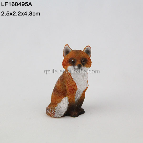 innovation 2017 small sculpture quanzhou craft polyresin red fox,small figurine craft animal fox statue