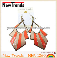 Cheap wholesale fashion orange exotic epoxy painting earrings jewelry