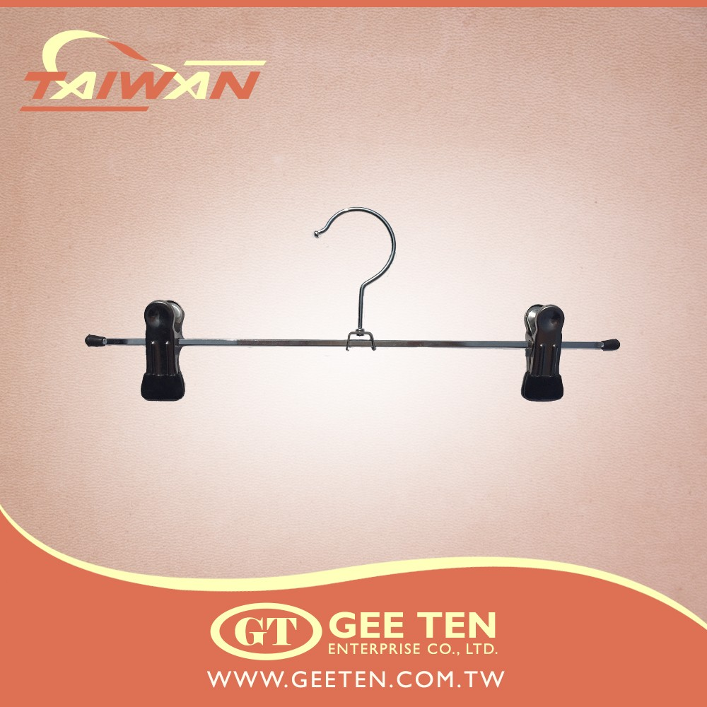 Shop used metal iron wire chrome hanger with trousers clips