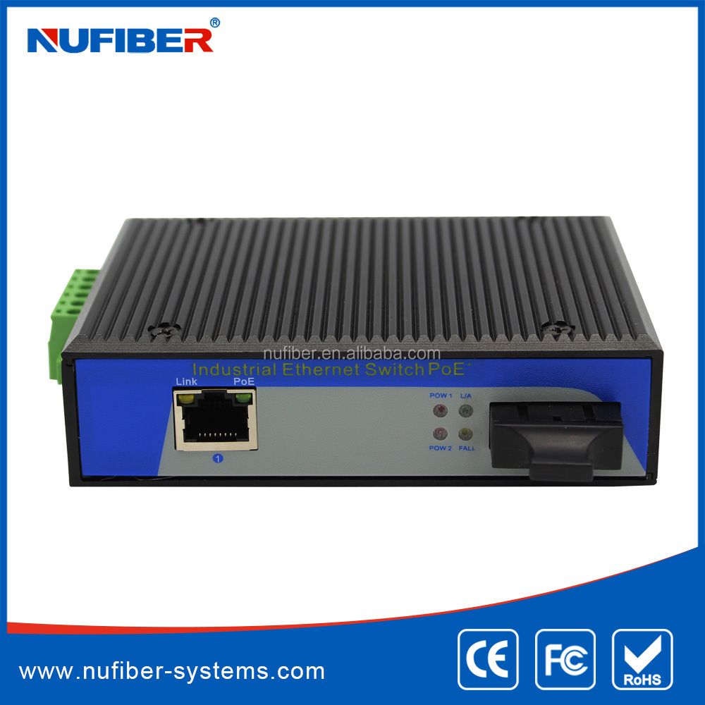 Unmanaged Industrial PoE media converter with 1 PoE 100Tx ports + 1 fiber port 15.4W/30W