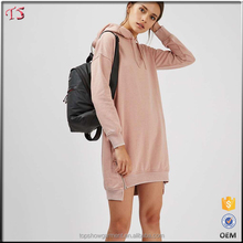 Ladies tops latest design long sleeve pullover hoodie dress manufacturers