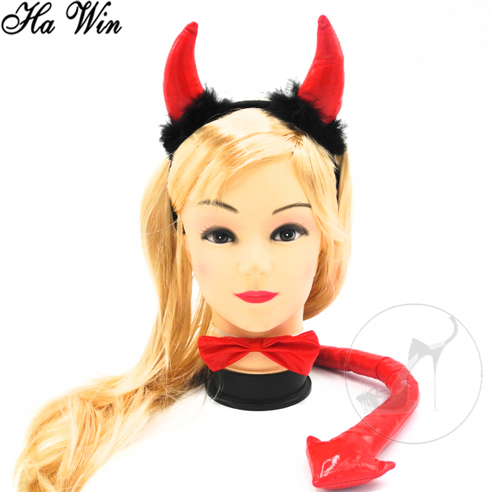 Red Devil Horn Headband with Bowtie and Tail Hen Party Favors