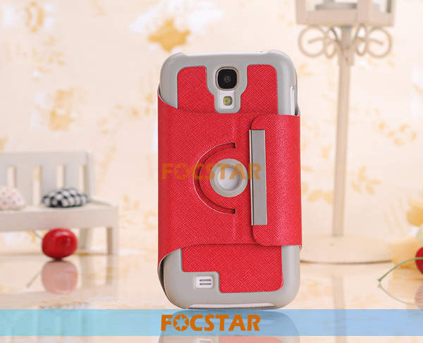360 Degree Rotating Stand Leather Case Cover for Samsung Galaxy S4 i9500