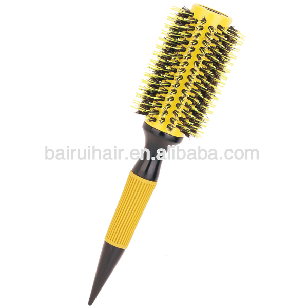 Professional Boar and Nylon Bristles Wood Thermal Round Brushes with Non-slip Rubber Grip Handle