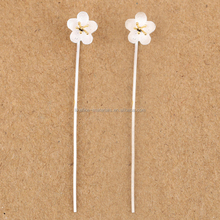 Wholesale fashion simple design genuine 925 sterling silver flower earring wire