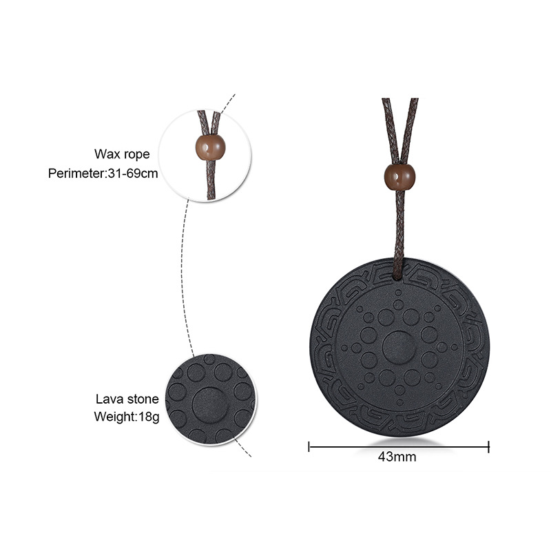 Fashion quantum bio energy lava stone pendant necklace men