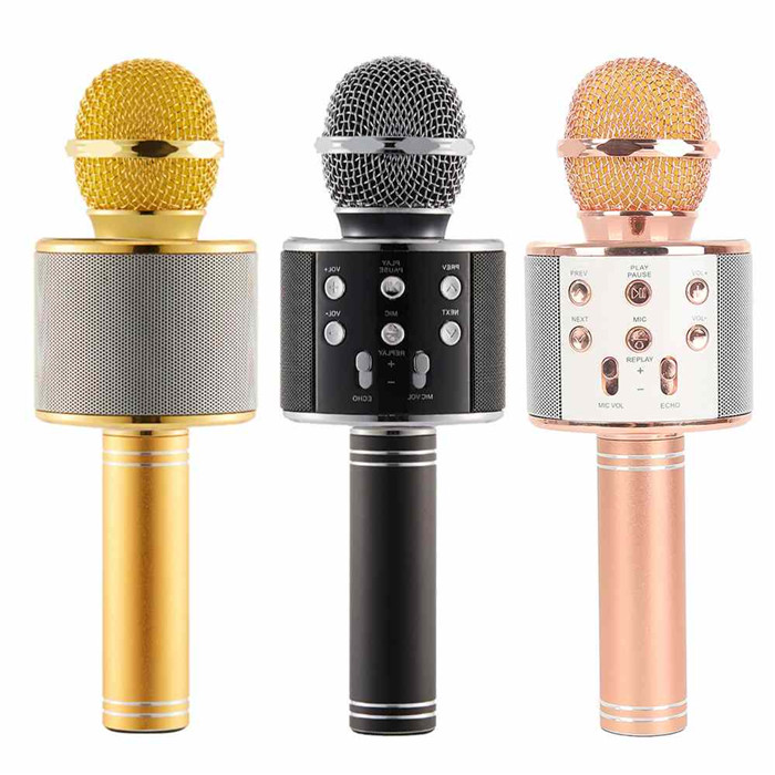 USB WS858 wireless magic sing along karaoke recording conference microphone speaker for home KTV