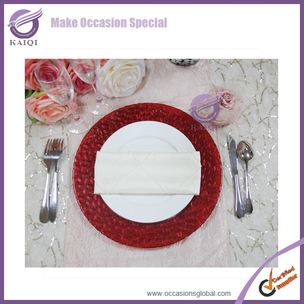 18254 red rim high quality clear mirror wedding Design Glass Charger Plate