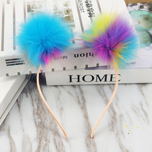 Fmq-196 Amazon Double faux rabbit Rainbow color Fur Ball/poms Kids Hair Accessories Hairband Hair Bands For Baby Girls