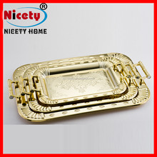 3pcs golden middle east stainless steel square serving tray decorative