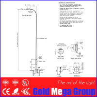 10 meters lighting pole for road street