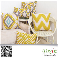 elegant yellow warm handmade print cushions cover home textile decoration