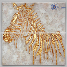 High Quality Wall Art Decoration Modern Abstract Art Gold Foil Zebra Animal Oil Painting