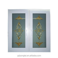 Special design double glass add flowers decoration inside openable window pvc window