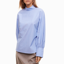 China clothing manufacturers dropped shoulder ladies tops bishop long sleeve women stripe blouses