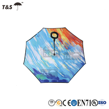 Tianshuo new design custom high quality windproof double layer handle reverse parasol sunshade inverted umbrella